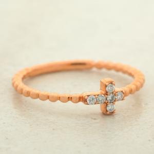 1.5MM Diamond Cross Crucifix Ring