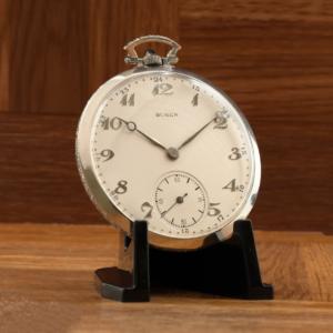 Rare Vintage Buren Swiss 7 Jewel Stem Wind & Set 45mm Platinum Diamond Open Face Pocket Watch