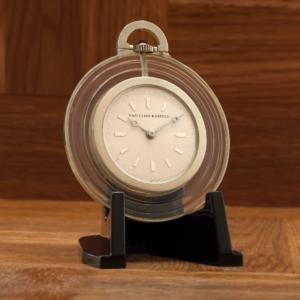 Rare Vintage Art Deco Van Cleef & Arpels 42mm Platinum & Rock Crystal Pocket Watch
