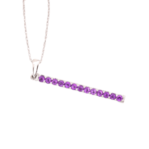 10kt White Gold Purple Amethyst Bar Pendant Necklace
