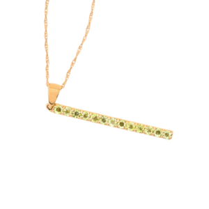 10kt Yellow Gold Peridot Bar Pendant Necklace