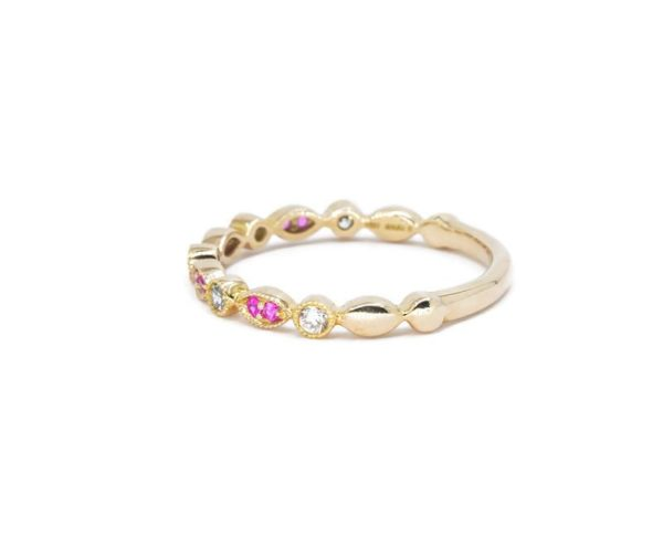2.2MM Diamond And Pink Sapphire Vintage Style Stackable Wedding Band