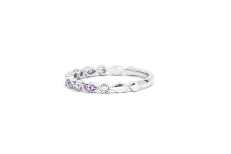 2.2MM Vintage Inspired Diamond & Amethyst Stackable Band