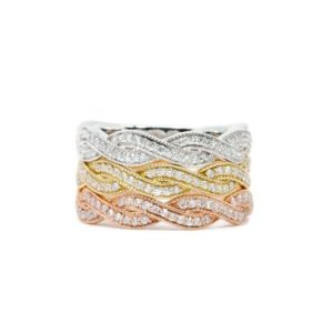 4.1MM Diamond Half Eternity Twist Milgrain Band