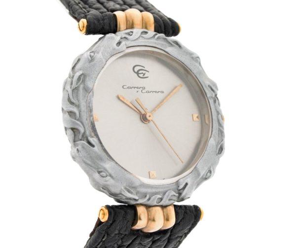 Ladies Carrera Y Carrera Kabajo Sculpted Titanium Horse & 18kt Yellow Gold Swiss Quartz Wrist Watch
