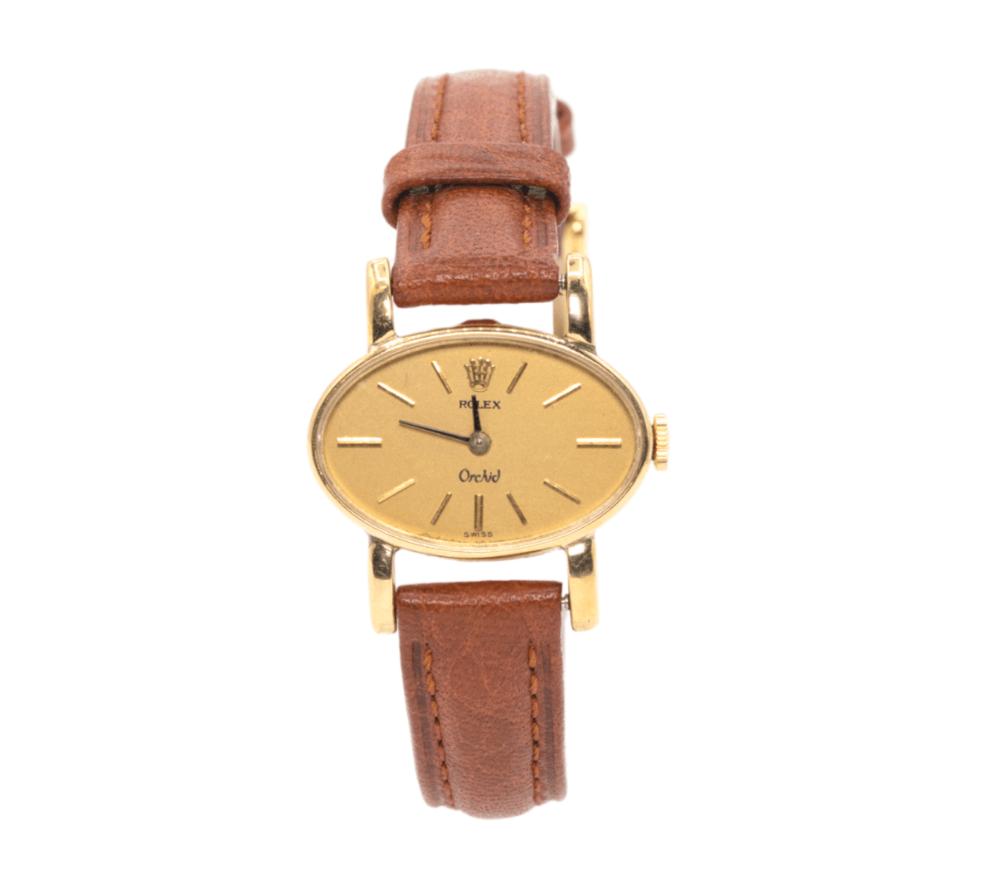 Ladies Vintage Rolex Orchid 2674 18kt Yellow Gold Swiss Manual Wind Wrist Watch