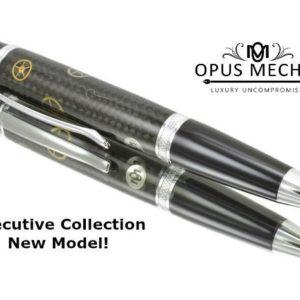 Opus Mechan Carbon Fiber Chrome Full Size Watch Part Ballpoint Pen