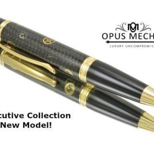 Opus Mechan Carbon Fiber Gold Full Size Watch Part Ballpoint Pen