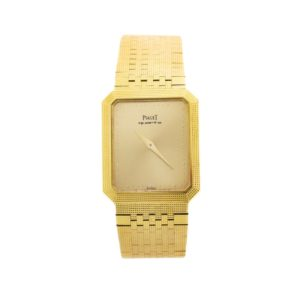 Rare Men's Vintage Piaget 18kt Yellow Gold Swiss Quartz Back Crown Wrist Watch