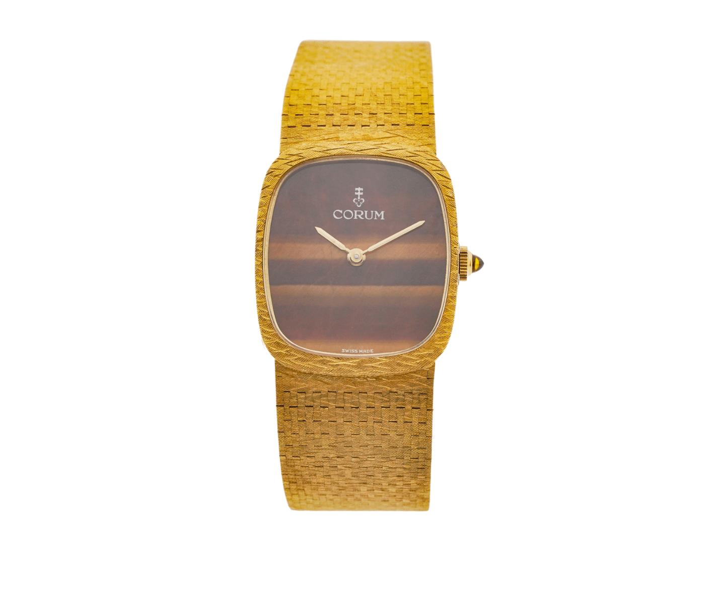 Rare Vintage Corum 180811 24.5mm 18kt Yellow Gold Swiss Tiger's Eye Dial Swiss Manual Wind Wrist Watch
