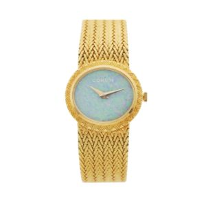 Rare Women's Vintage Corum 139491 23.5mm 18kt Yellow Gold Opal Dial Swiss Manual Wind Wrist Watch