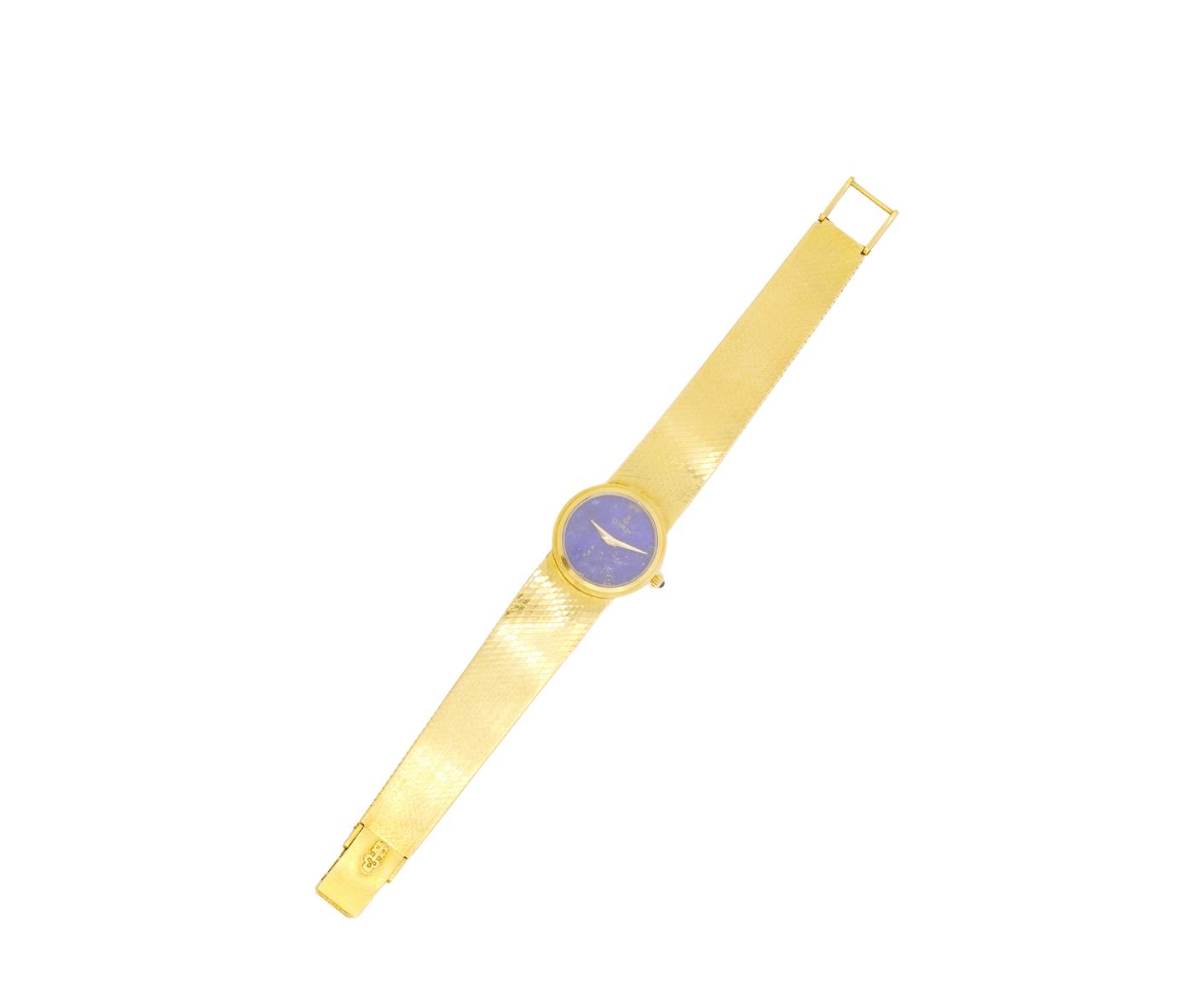 Rare Women's Vintage Corum 158213 23mm 18kt Yellow Gold Swiss Blue Lapis Dial Swiss Manual Wind Wrist Watch