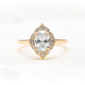 Solari Vintage Milgrain Diamond Oval Halo Engagement Ring - Sterling Heights and Shelby Township