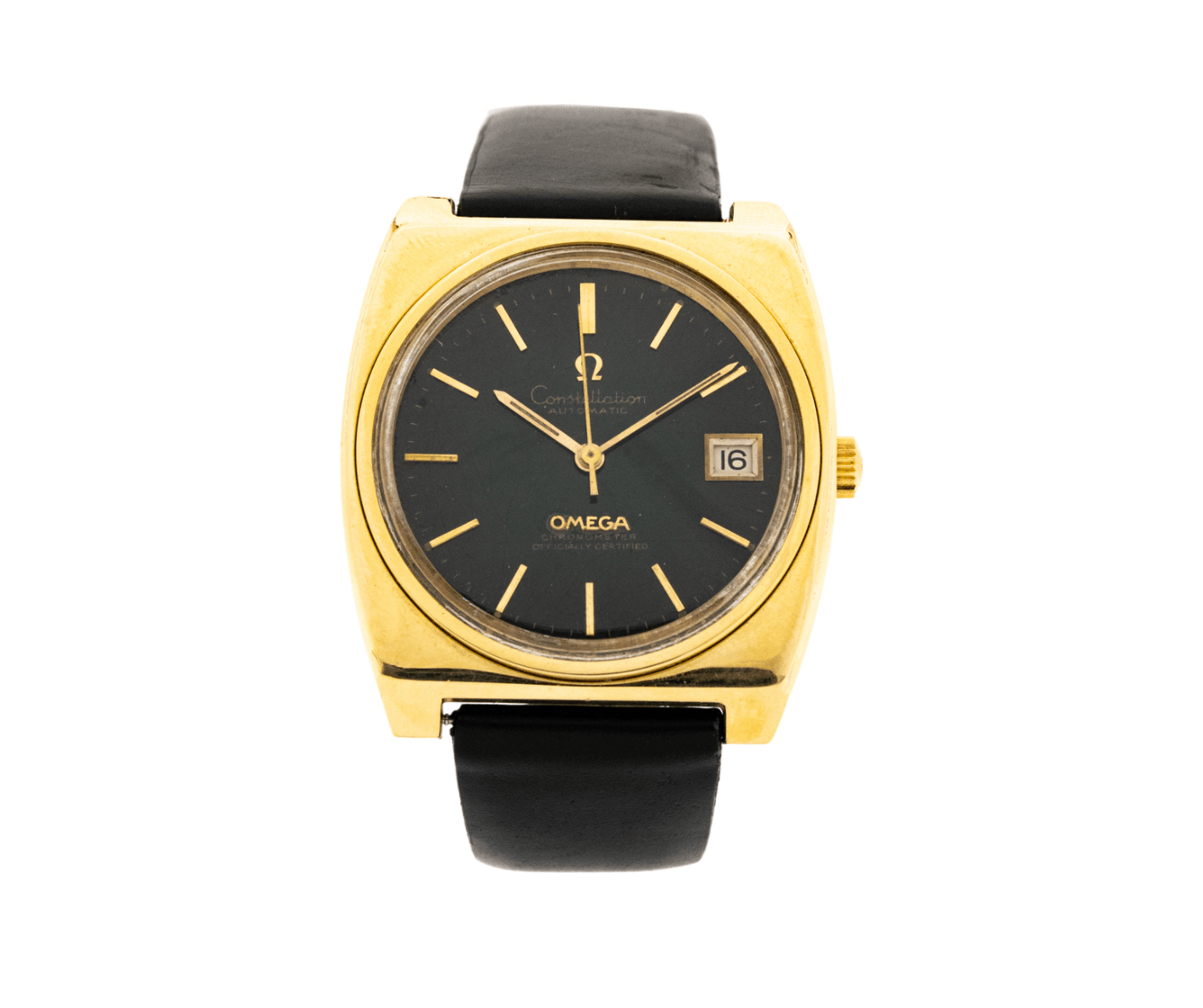 Vintage Omega Constellation 166.063/168.048 Automatic Date 14kt Yellow Gold Shell Watch