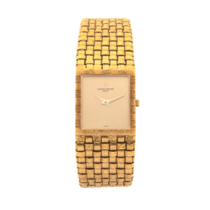 Vintage Vacheron Constantin 7186 18kt Yellow Gold Basket Weave Swiss Manual Wind Wrist Watch