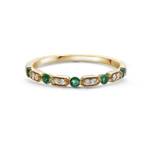 Women's 14kt Gold Diamond And Emerald Stackable Ring