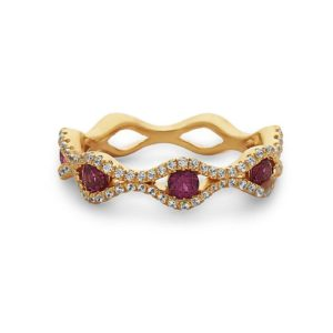Women's 14kt Gold Diamond And Ruby Stackable Ring