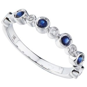 Women's 14kt Gold Diamond And Sapphire Stackable Ring
