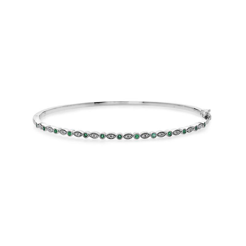 Women's 14kt Gold Diamond Emerald Bangle Bracelet