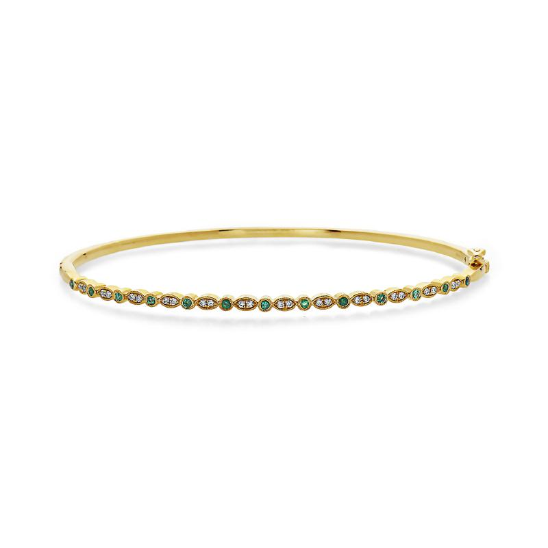Women's 14kt Gold Diamond Emerald Bangle Bracelet