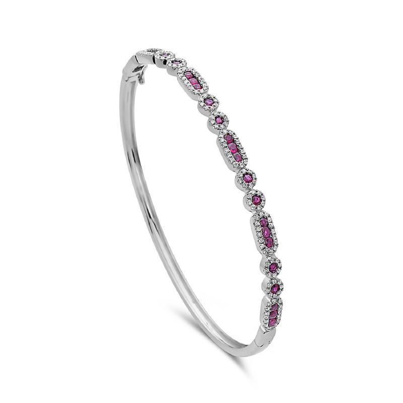 Women's 14kt Gold Diamond Ruby Bangle Bracelet