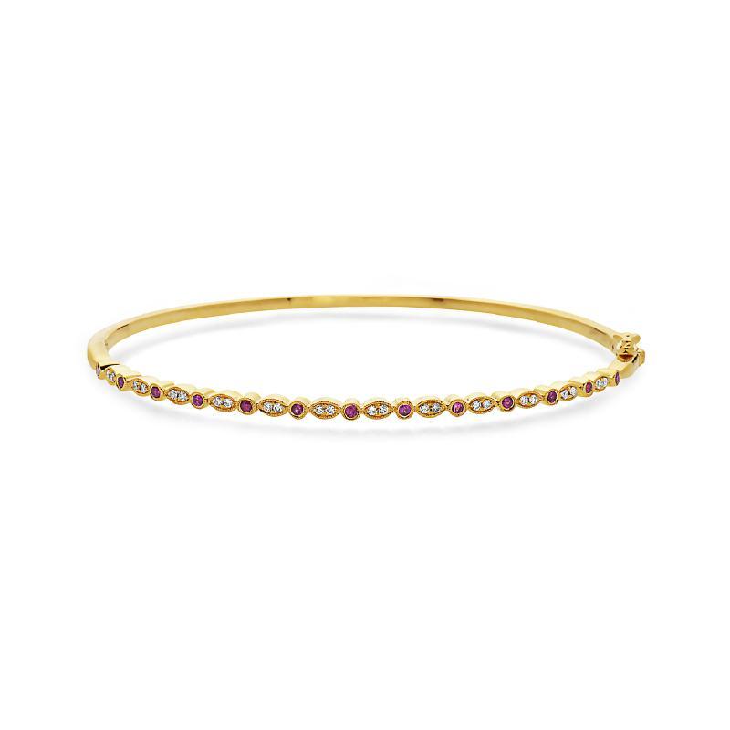 Women's 14kt Gold Diamond Ruby Bangle Bracelet