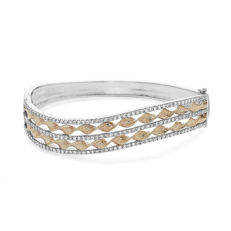 Women's Two Tone 14kt Gold Diamond Bangle Bracelet