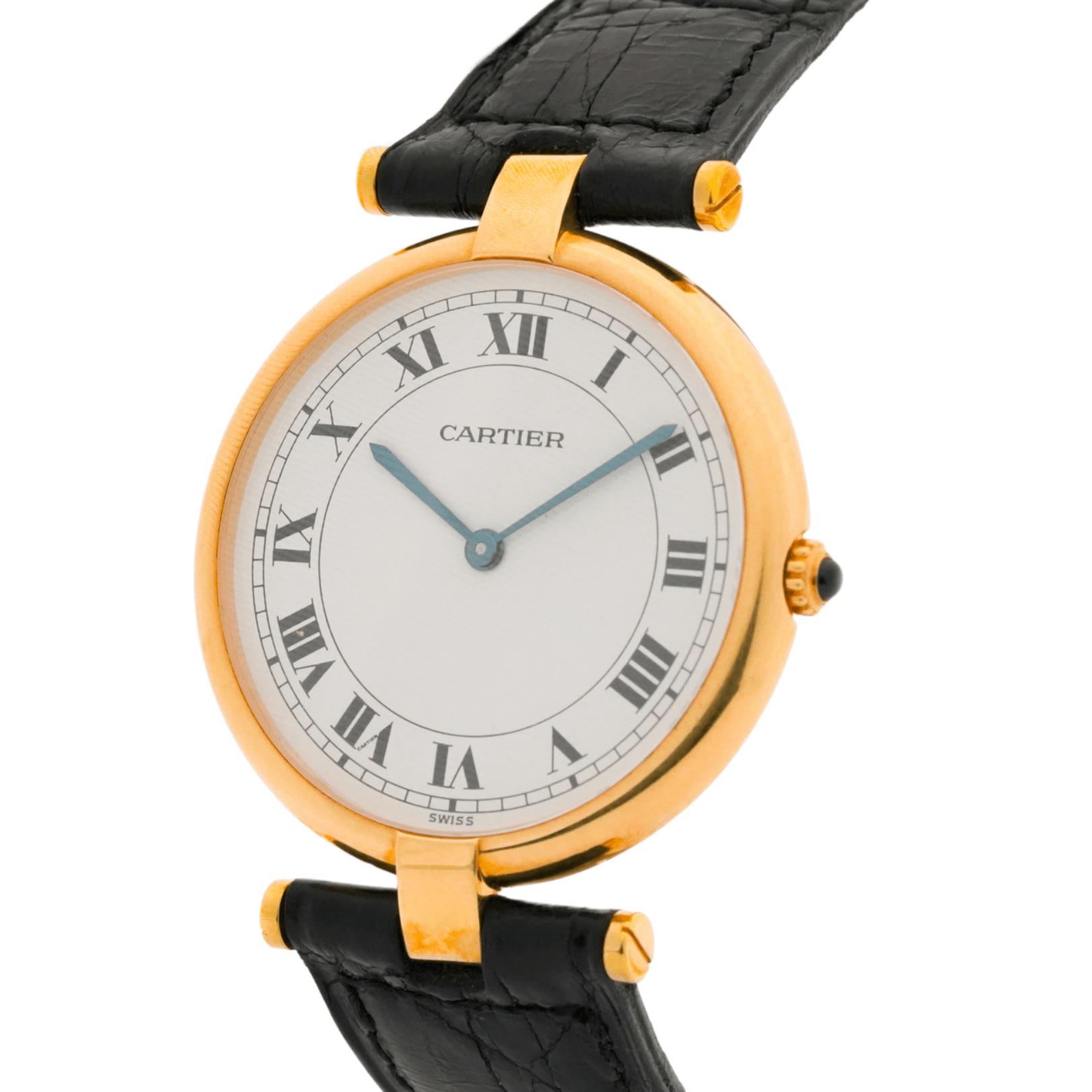 Women's Vintage Cartier Vendome 881001 30mm 18kt Yellow Gold Swiss 690 Quartz Wrist Watch