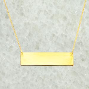 Sterling Silver Yellow Gold Flat Bar Pendant