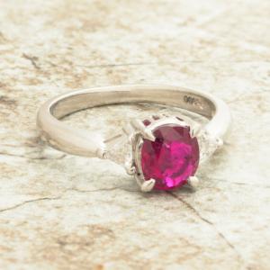 Women's Vintage Platinum 3 Stone Oval Ruby Diamond Engagement Ring