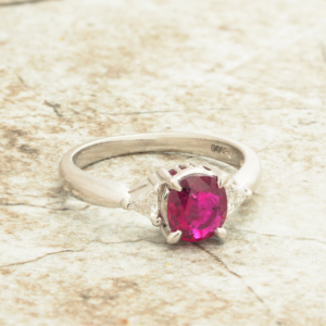 Women's Vintage Platinum 3 Stone Oval Ruby Diamond Engagement Ring